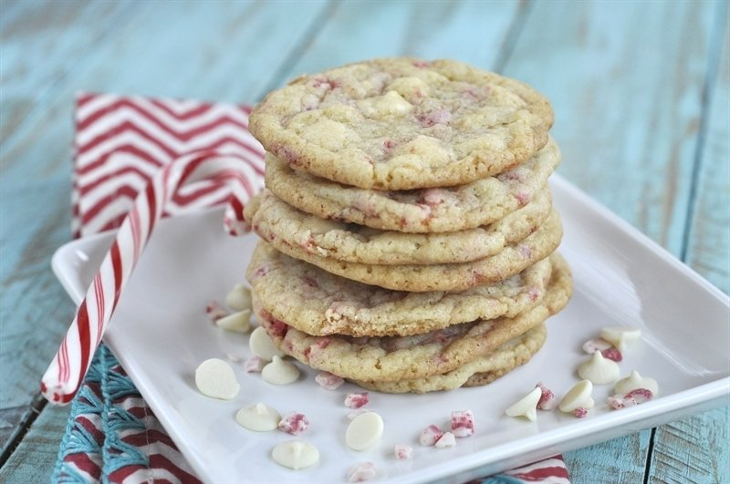 Minty White Chocolate Cookies