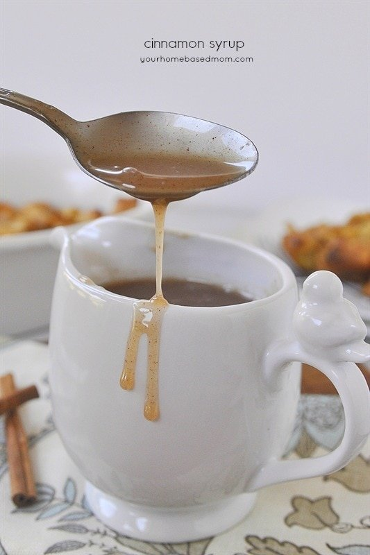 drizzling cinnamon syrup