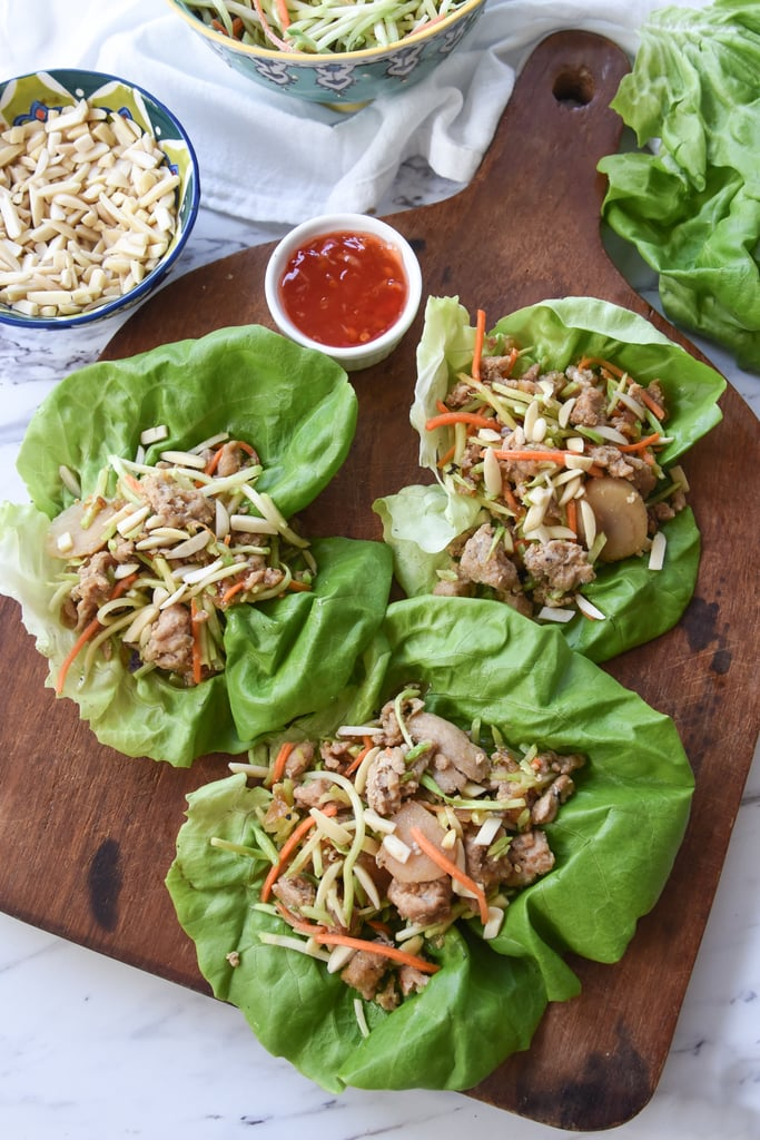 chicken broccoli slaw almonds on butter lettuce chicken lettuce wraps