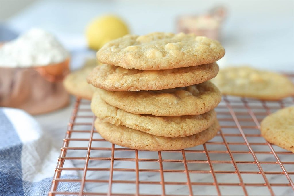 stack of Lemon White Chocolate Chip cookies