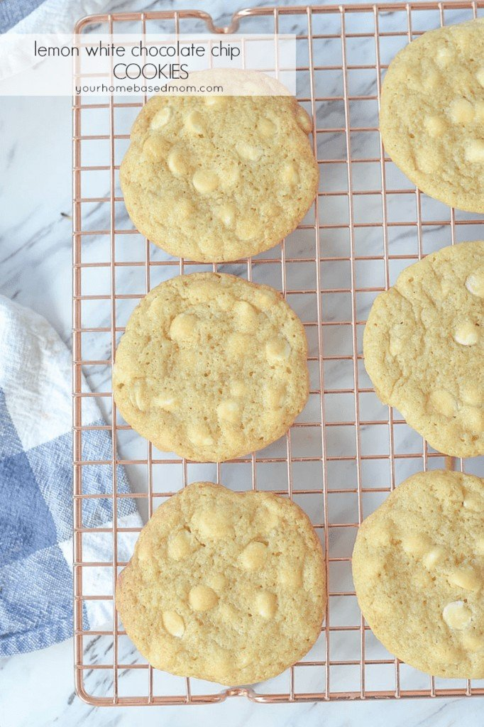 Lemon White Chocolate Chip Cookies on a cooling rack