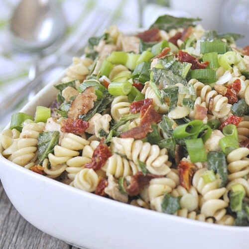Chicken Pasta Salad with Sun-Dried Tomatoes, Spinach and Bacon