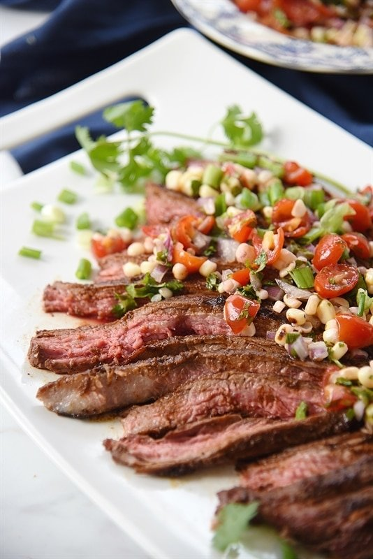 Chili Rubbed Flank Steak with Grilled Corn Salsa