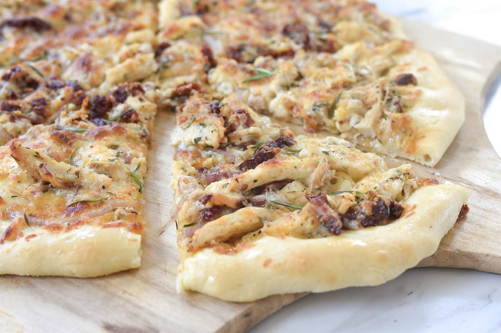 Rosemary Chicken Pizza on peel