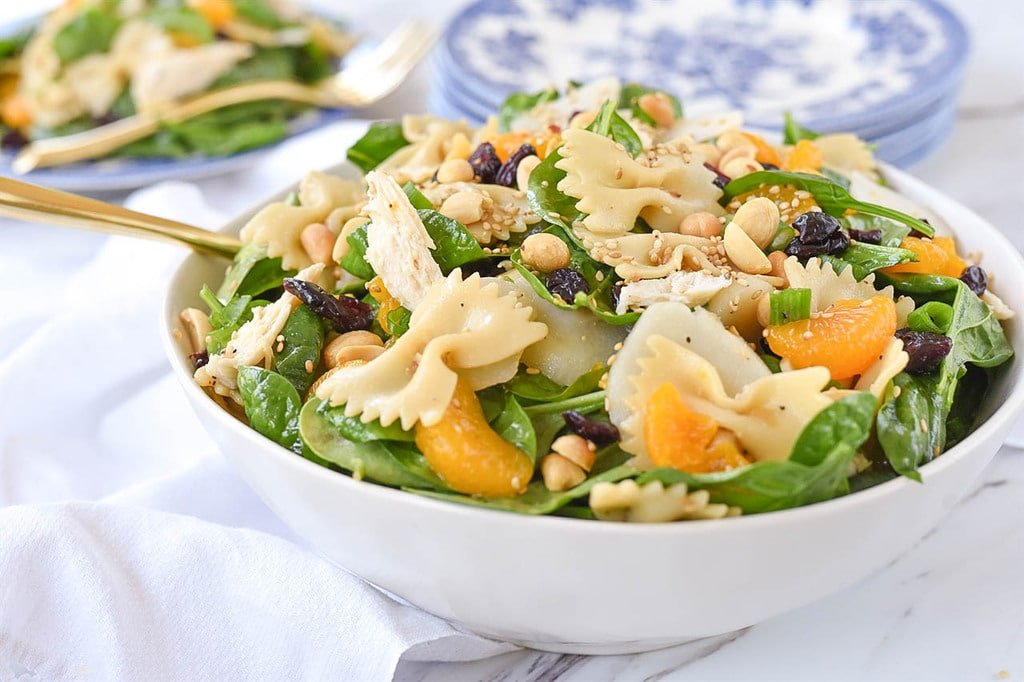 Pasta Salad with spinach mandarin oranges craisins peanuts chicken