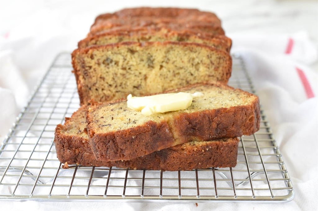 buttered banana bread slice