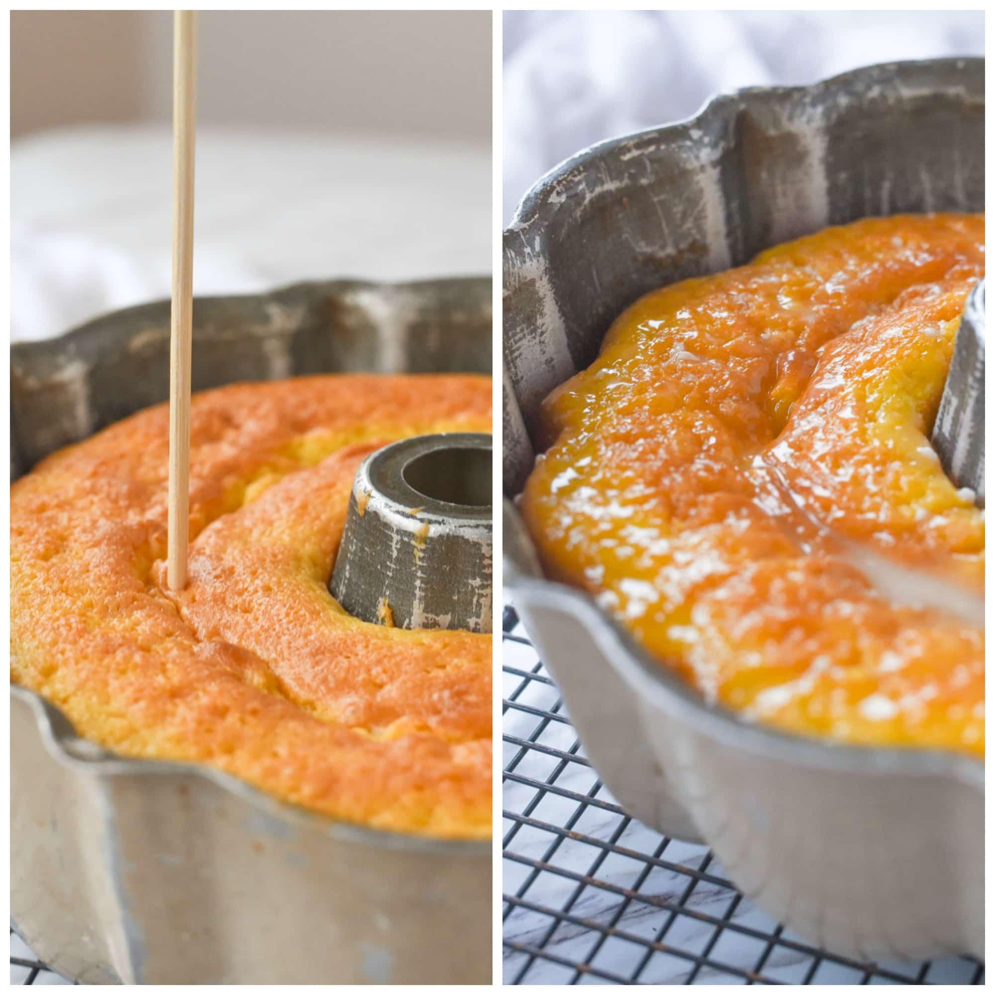pouring glaze over key lime cake