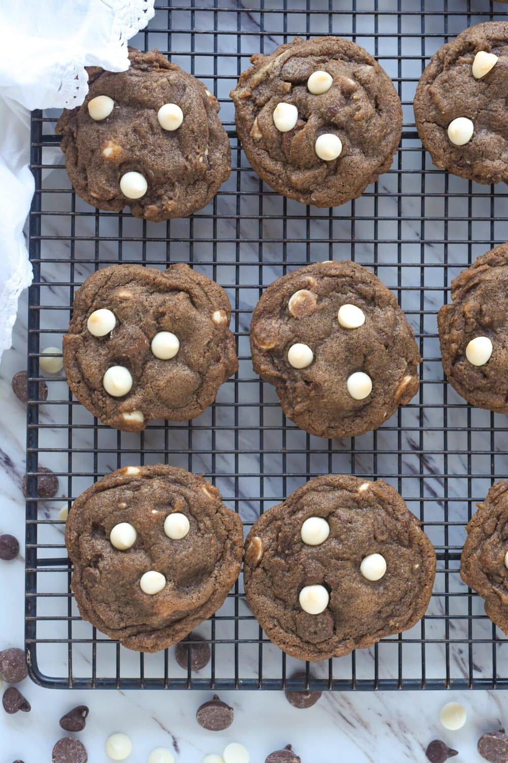 hot chocolate cookies on a cooling rack overhead shot