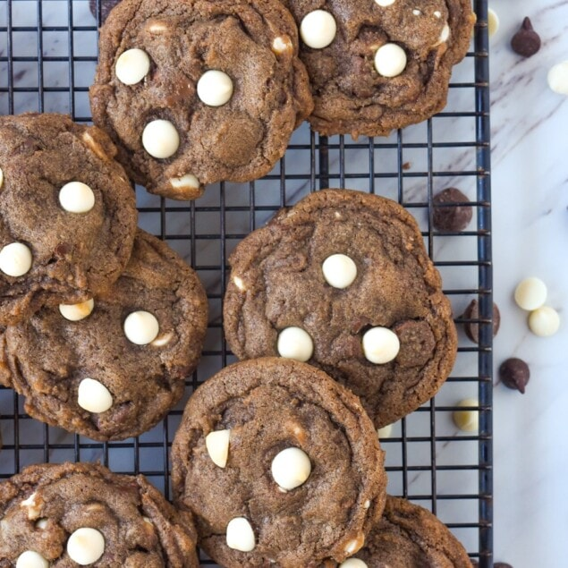 hot chocolate cookies on a cooling rack