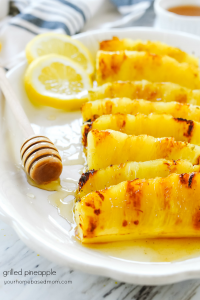 grilled pineapple spears on a plate