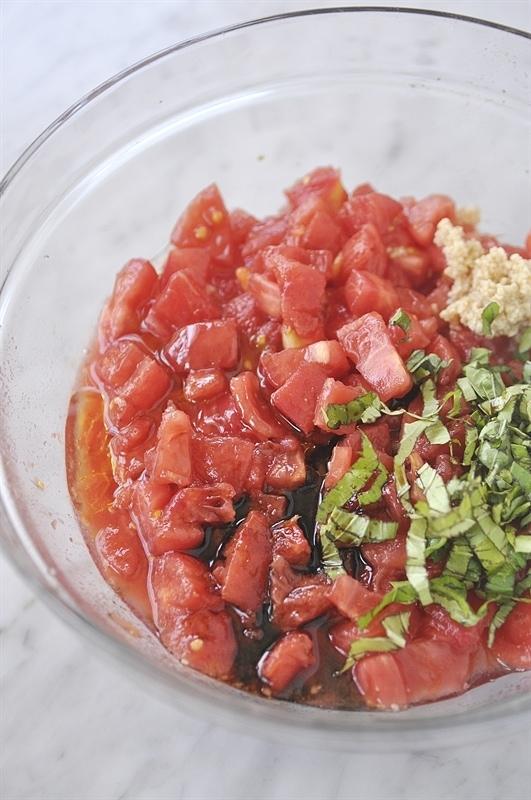 Fresh Tomato Bruschetta ingredients