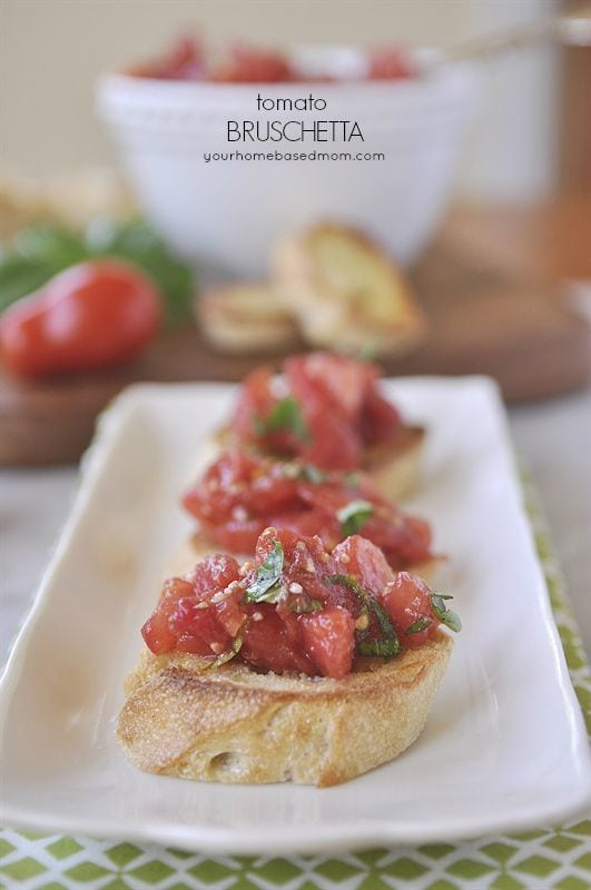 Tomato Brushcetta is the perfect thing to make with fresh garden tomatoes @yourhomebasedmom
