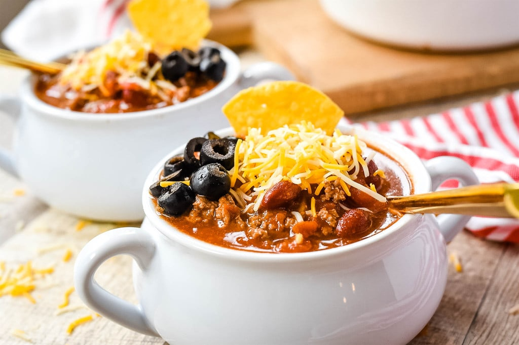 two bowls of taco soup