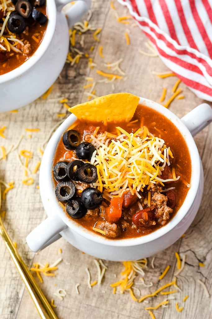 taco soup cheese black olives corn tortilla chips