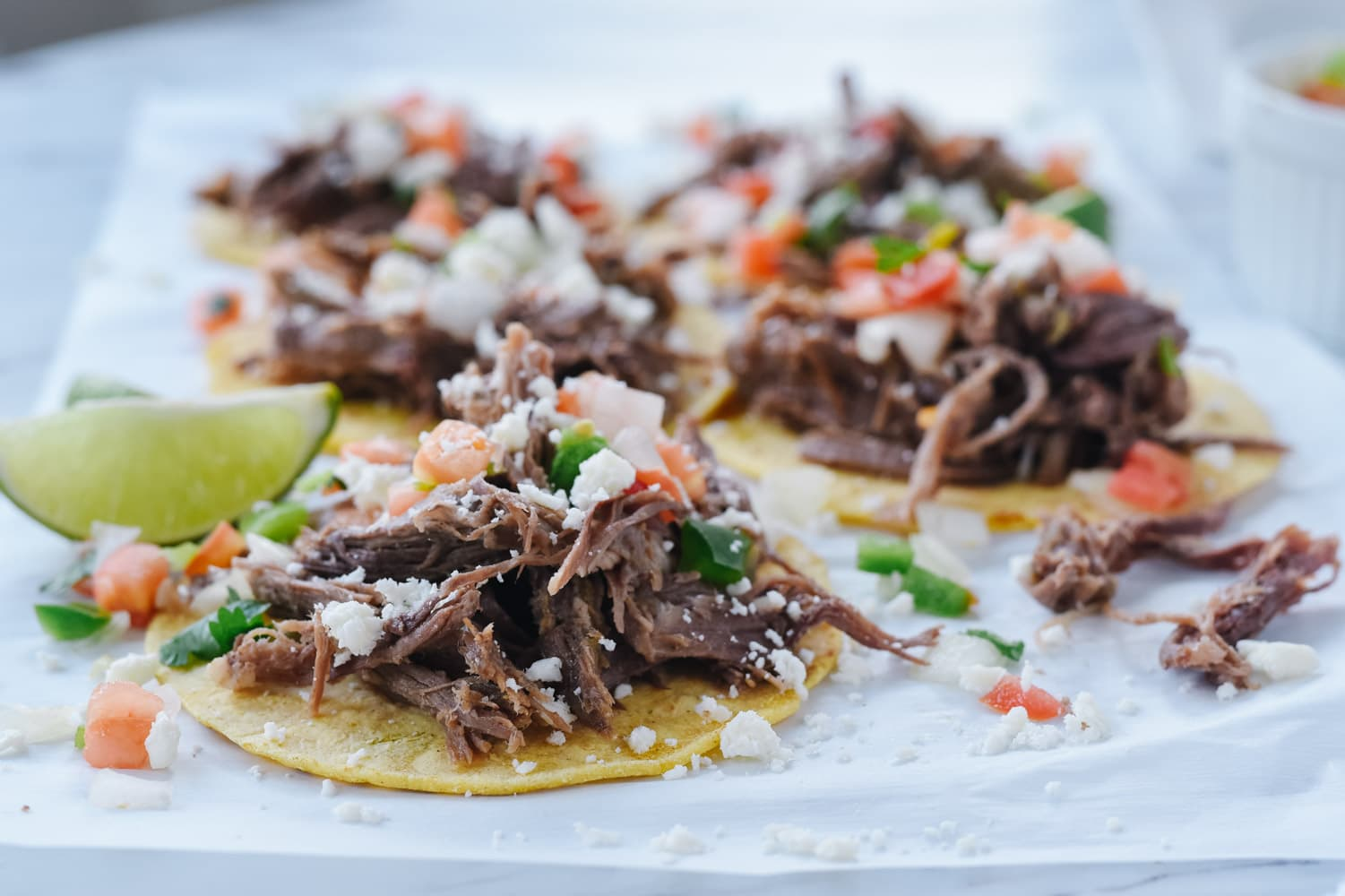 shredded beef open face tacos