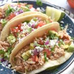 Crock pot Shredded Green Chile Chicken Tacos