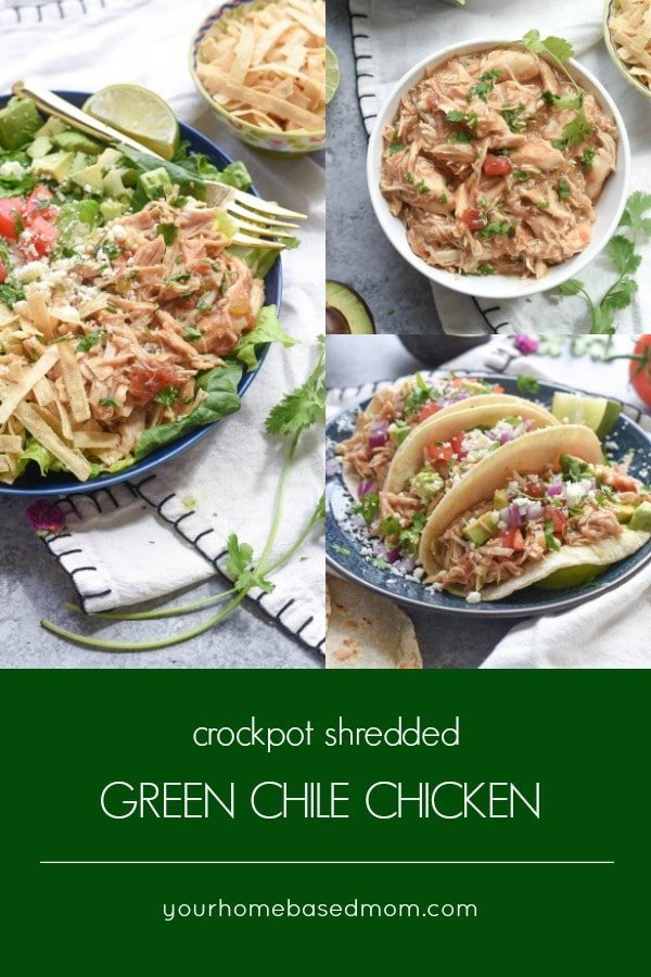 Crockpot Shredded Green Chile Chicken tacos