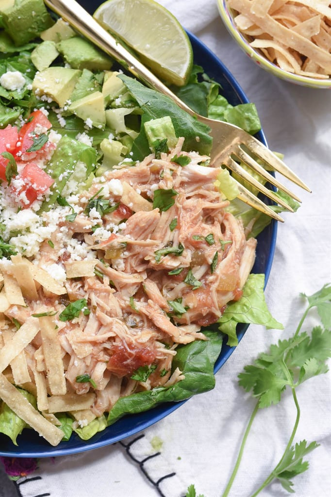 Shredded Green Chile Chicken Salad from Bajio
