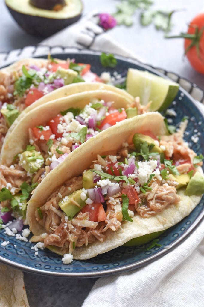 Shredded Green Chile Chicken Tacos