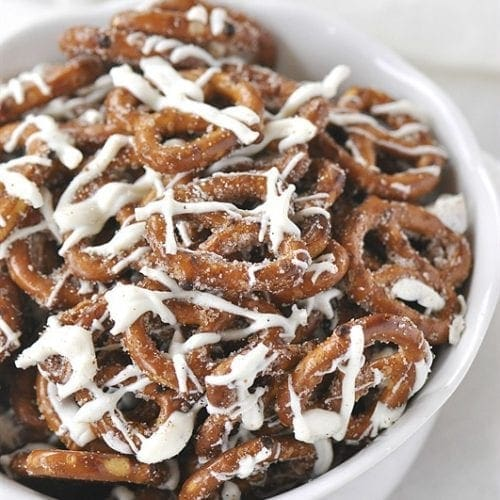 White Chocolate Cinnamon Pretzels are amazing! Easy, fast, no baking and DELICIOUS!! My favorite holiday treat!!