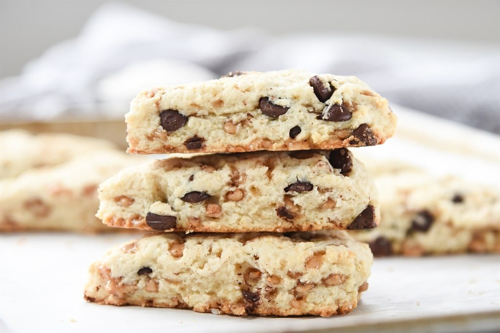 CHocolate Chip and Toffee Cream Scones
