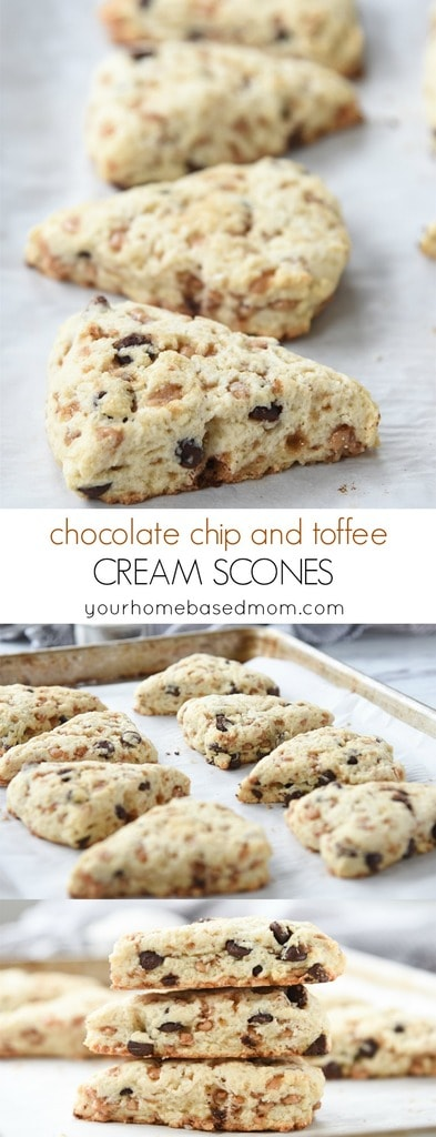 These chocolate chip and toffee cream scones are perfect for your next tea party or with your favorite hot beverage.
