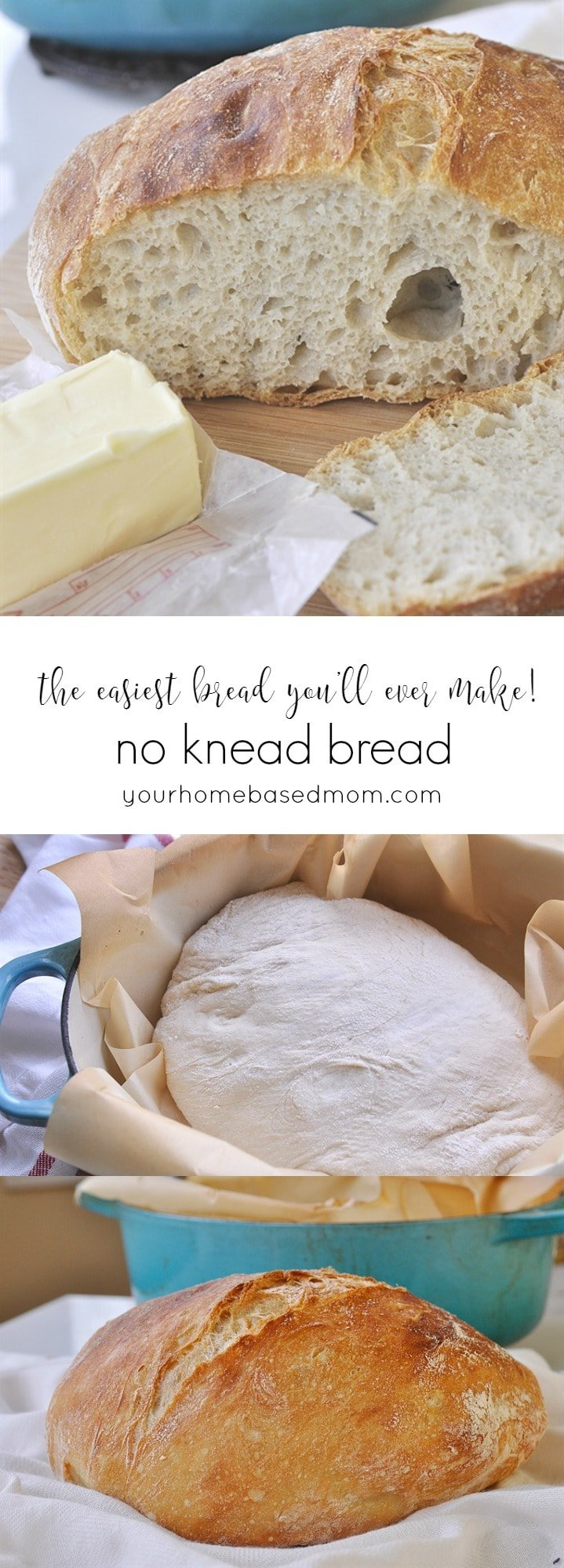 No Knead Bread @yourhomebasedmom.com