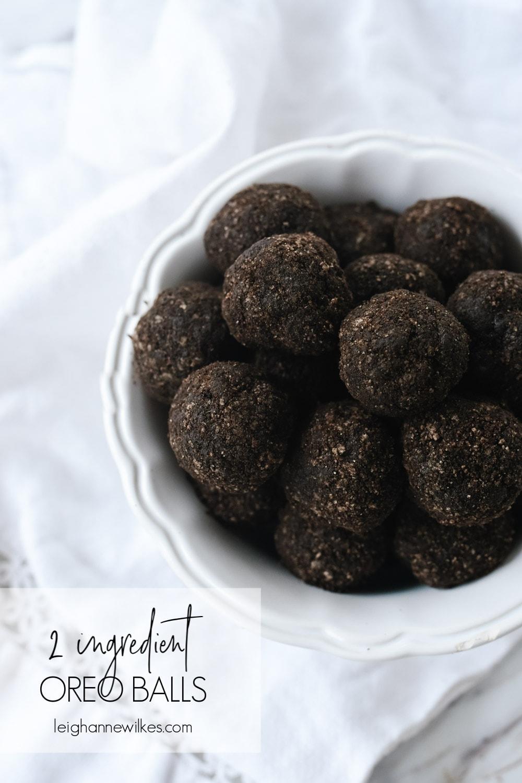 white bowl of oreo balls