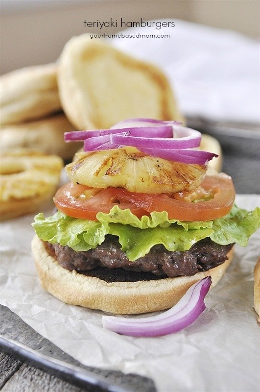Teriyaki Hamburger with grilled pineapple rings