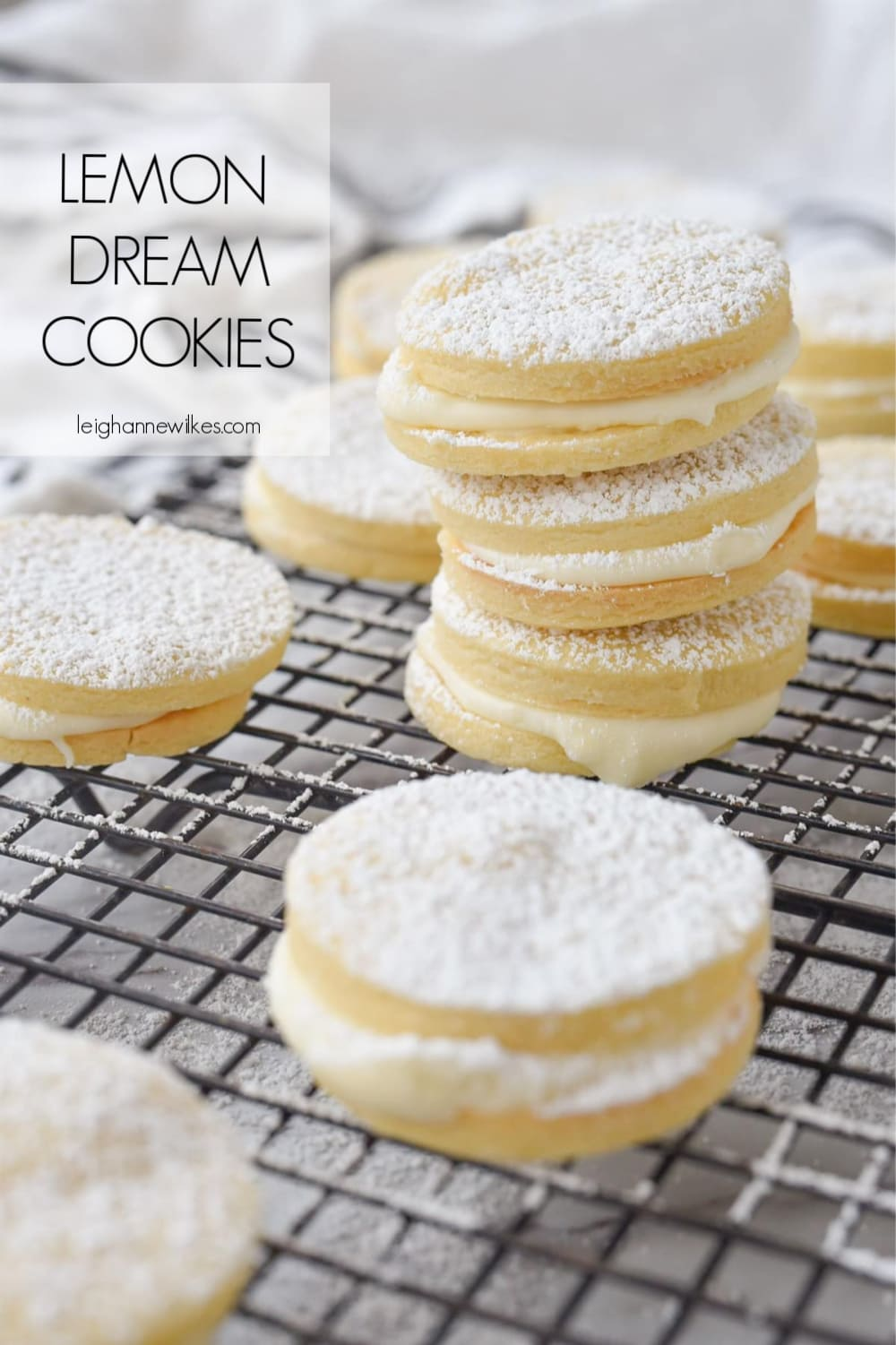 stack of lemon sandwich cookies