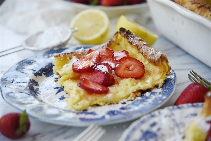 German Pancake topped with strawberries
