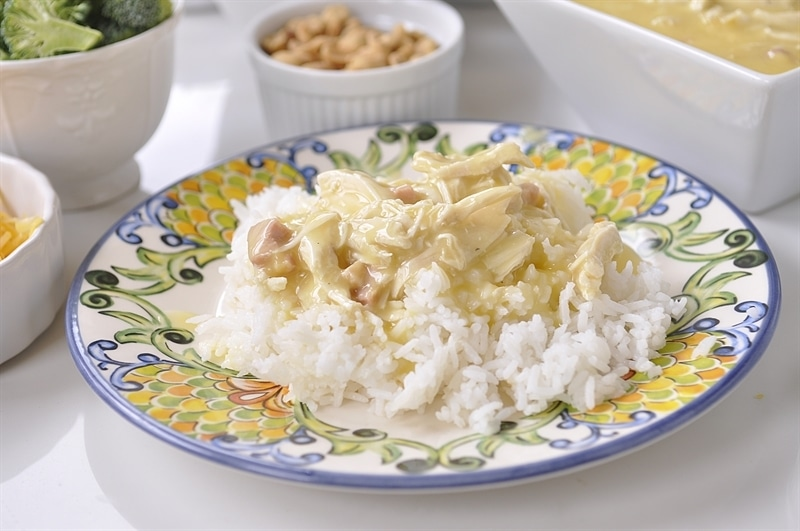 plate of rice with cream of chicken for Hawaiian Haystacks