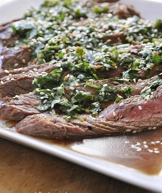 Marinated Flank Steak with Chimichurri Sauce