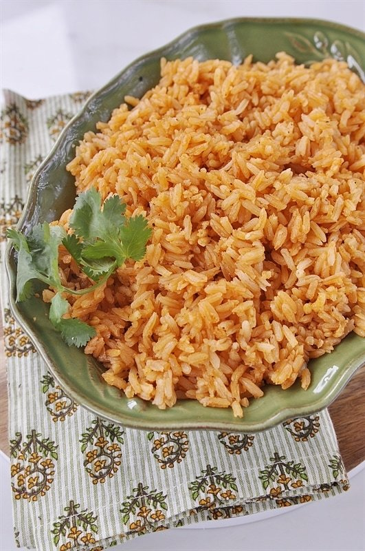overhead shot of mexican rice