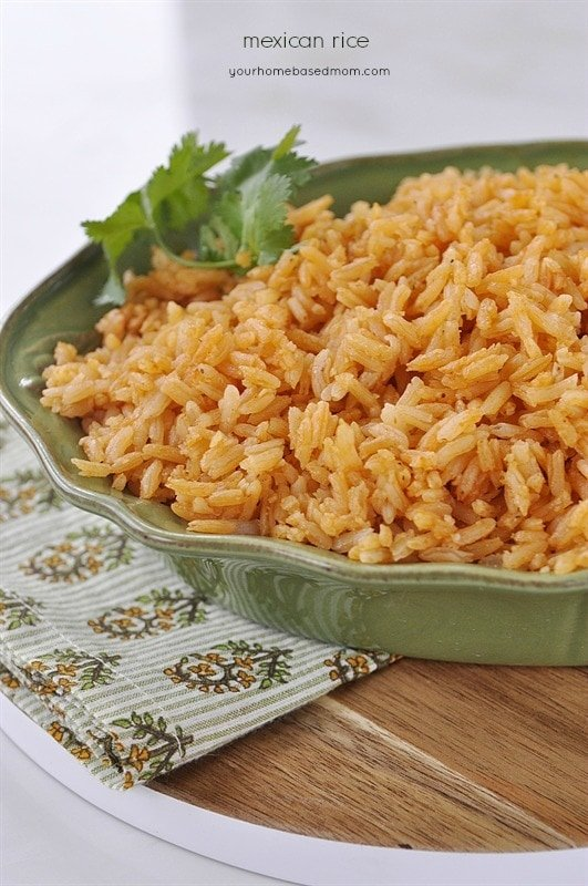 Restaurant Style Mexican Rice in a green bowl
