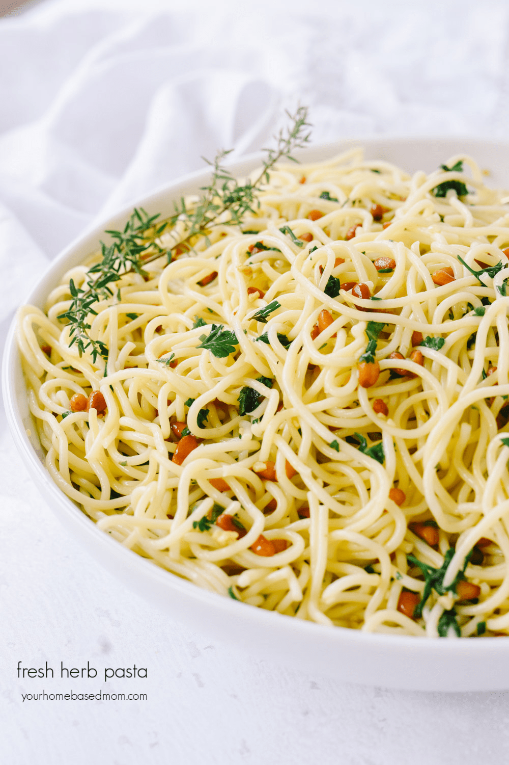 herb pasta in a bowl