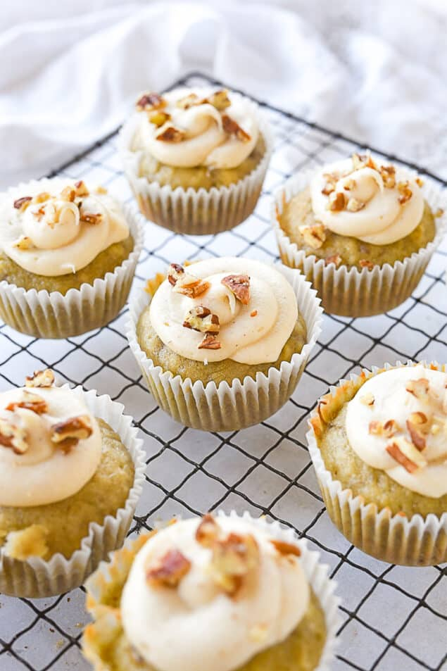 banana cupcakes on a cooling rack