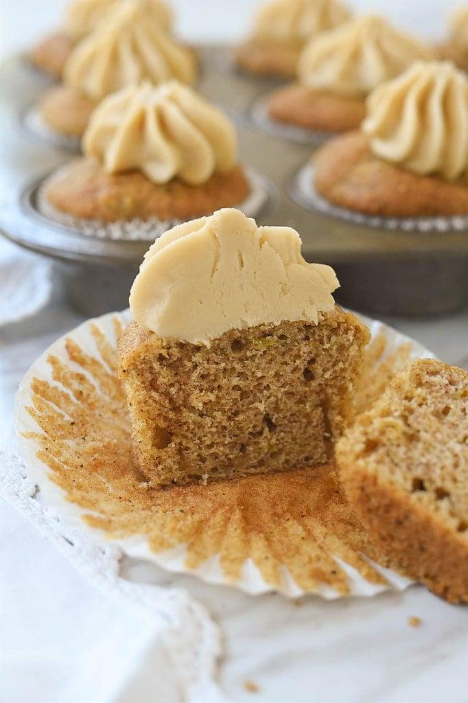 zucchinni cupcake cut in half
