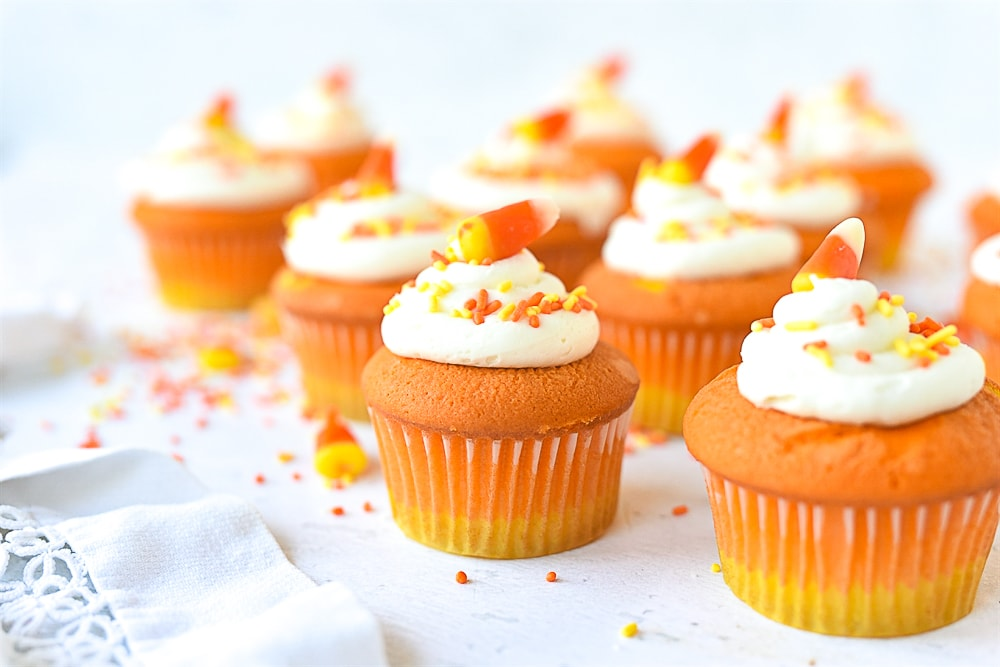 cupcakes with candy corn on them