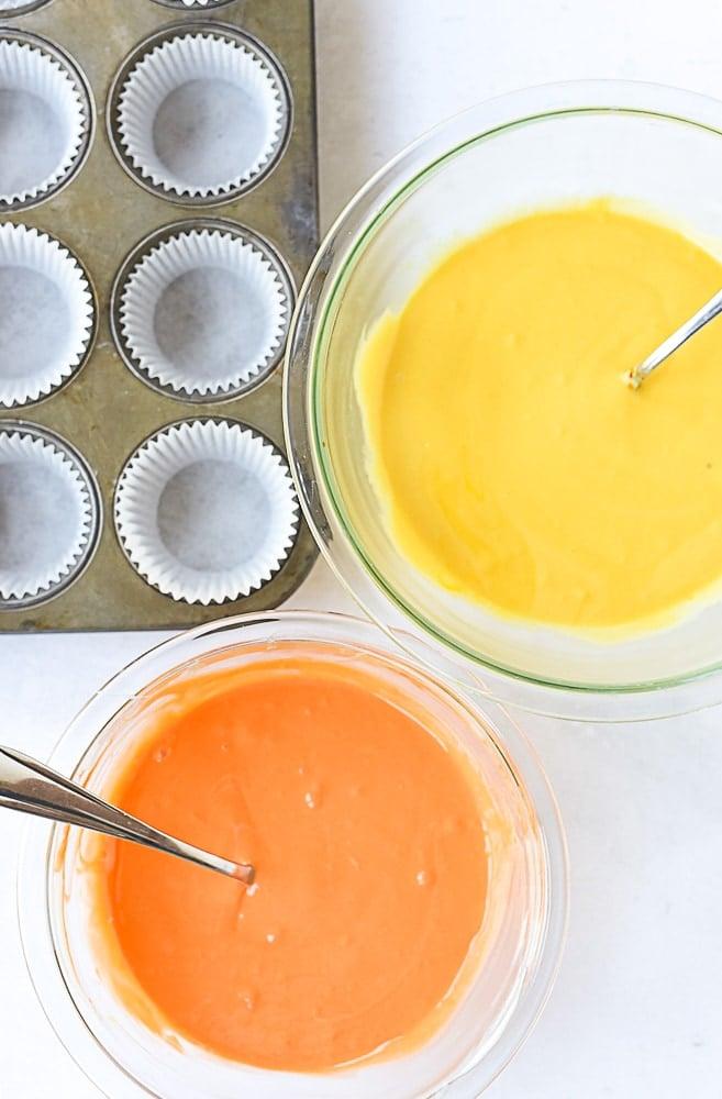 orange and yellow cake batter
