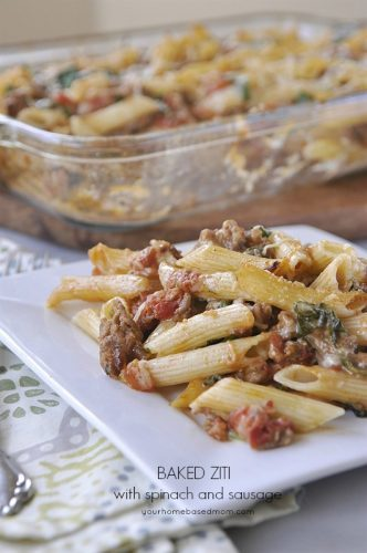 Baked Ziti with Spinach and Sausage - your homebased mom