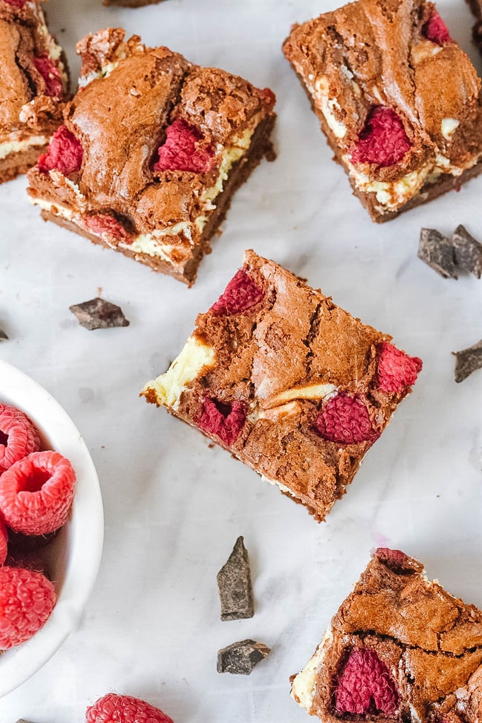 raspberry cream cheese brownies cut into squares