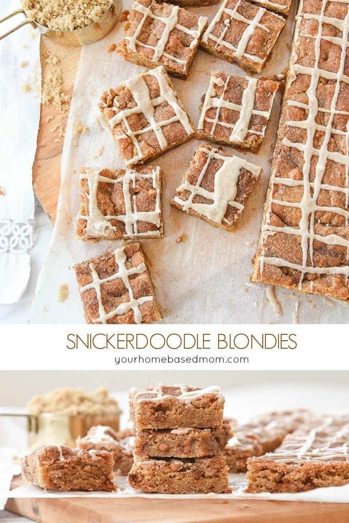 Snickerdoodle Blondies are a Snickerdoodle Cookie in bar form with lots of cinnamon and brown sugar goodness. If you are a Snickerdoodle fan you will love these!