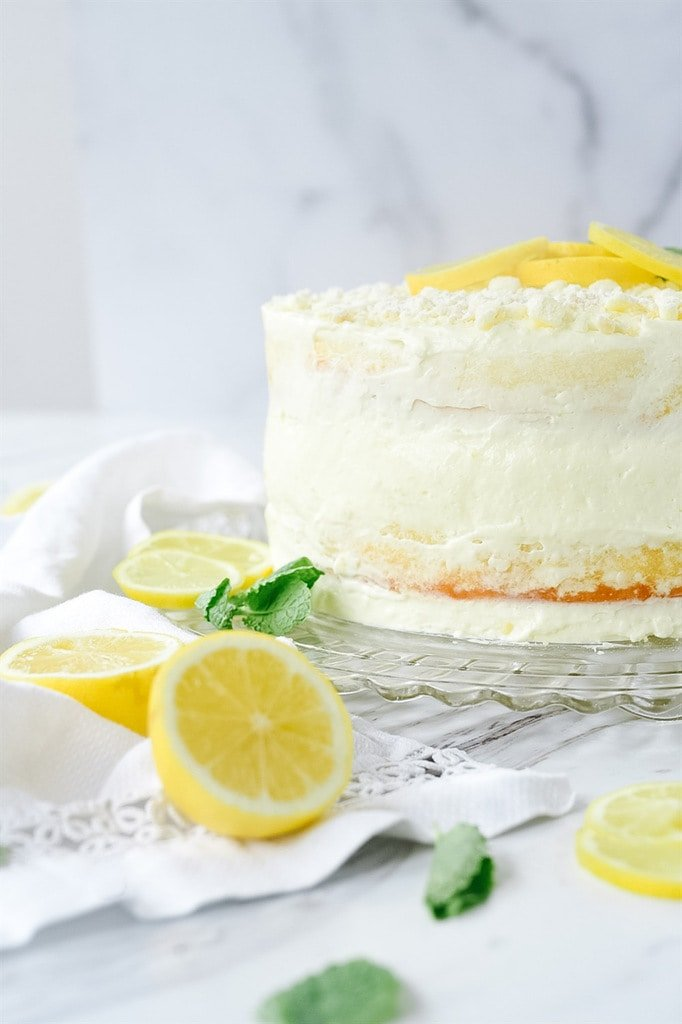 Lemon Cream cake on a plate