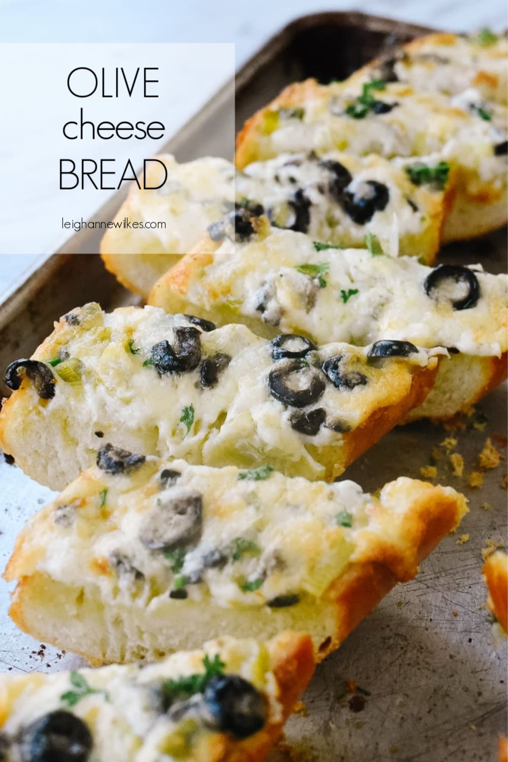 slices of olive cheese bread