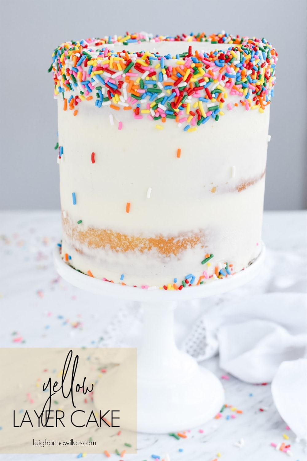 yellow layer cake with sprinkles