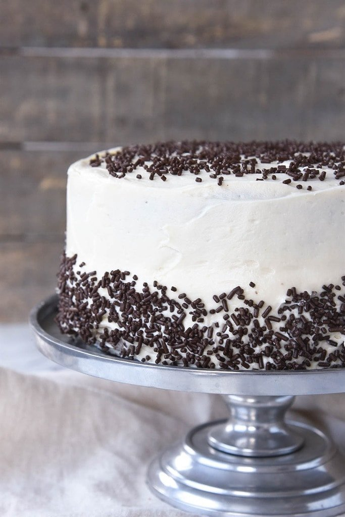 chocolate cake frosted with butter cream icing and chocolate jimmies