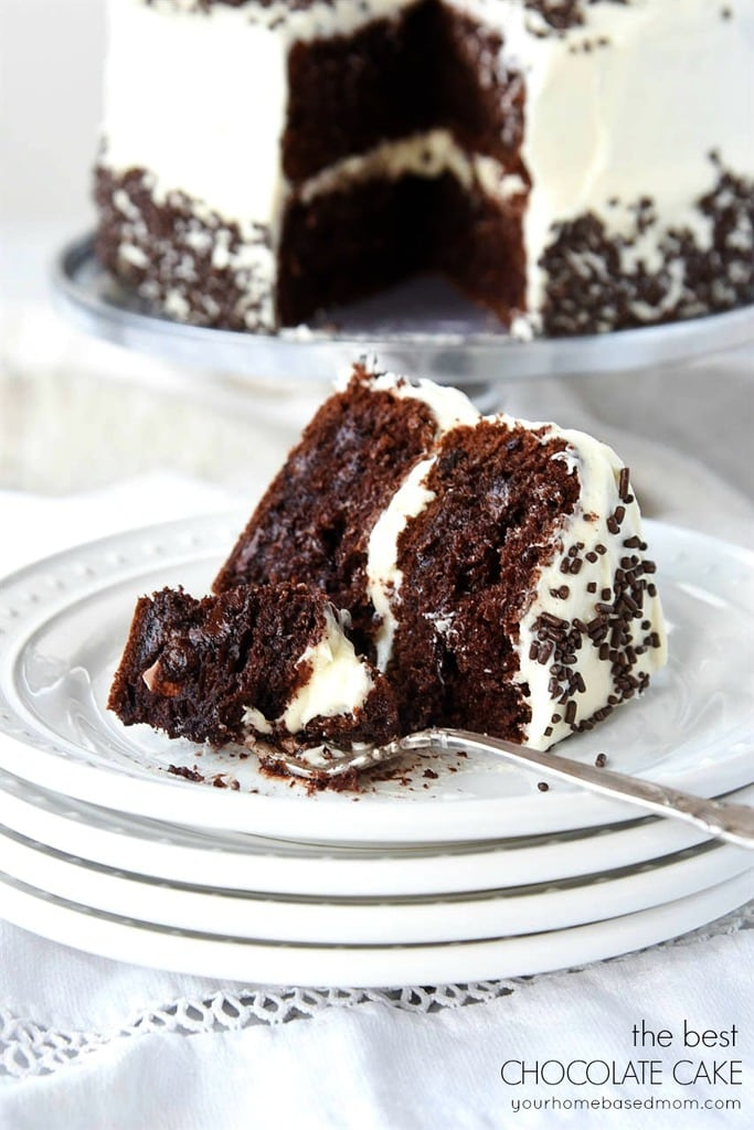 A slice of chocolate cake with buttercream frosting and sprinkles