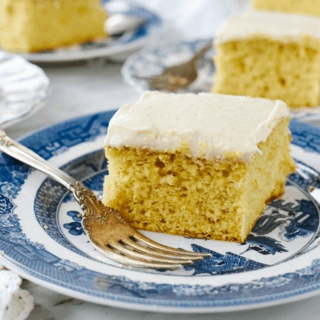 brown butter cake on plate with fork
