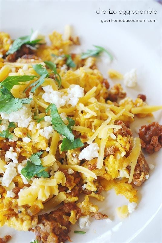 chorizo egg scramble is delicious for breakfast or dinner